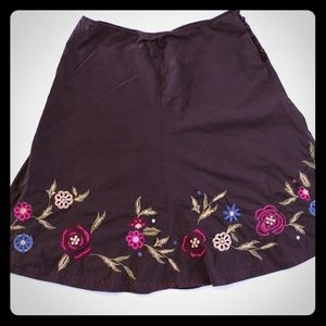 5/$20 J. Jill Embroidered Brown skirt floral 16